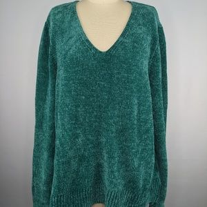 Maison Jules Green Sweater sz XL Chenille V Neck